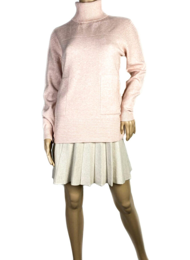 pulover roz pe gât cu buzunare damă,