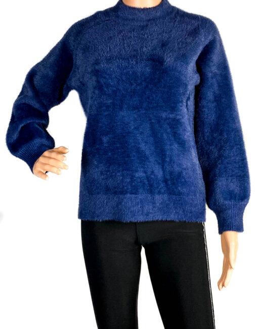 pulover albastru pufos damă,
