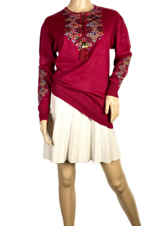 pulover motiv tradițional bordo damă,