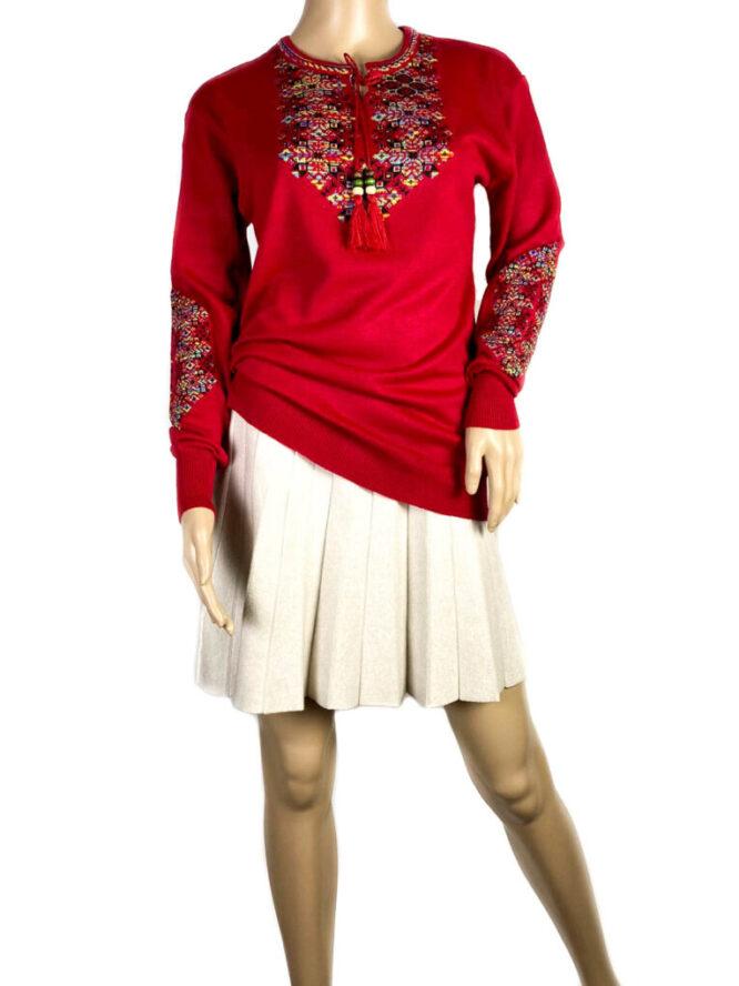 pulover motiv tradițional roșu damă,