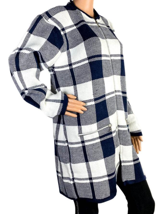 pulover damă cu fermoar bleumarin,