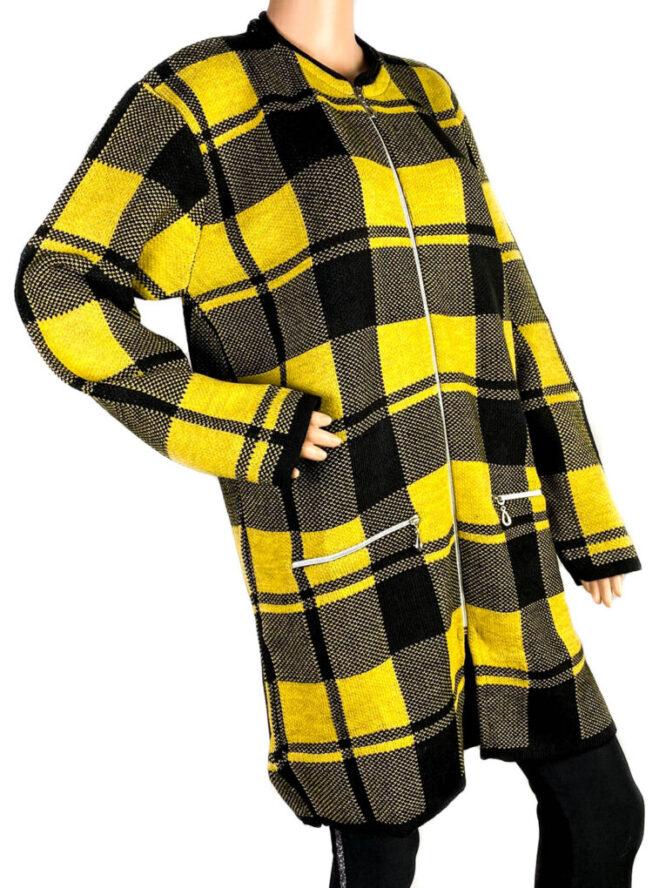 pulover damă cu fermoar galben,