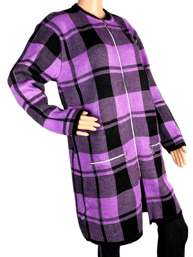 pulover damă cu fermoar mov,