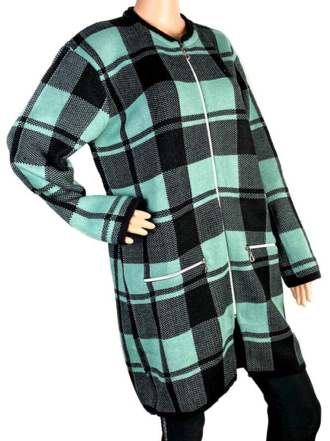 pulover damă cu fermoar verde,
