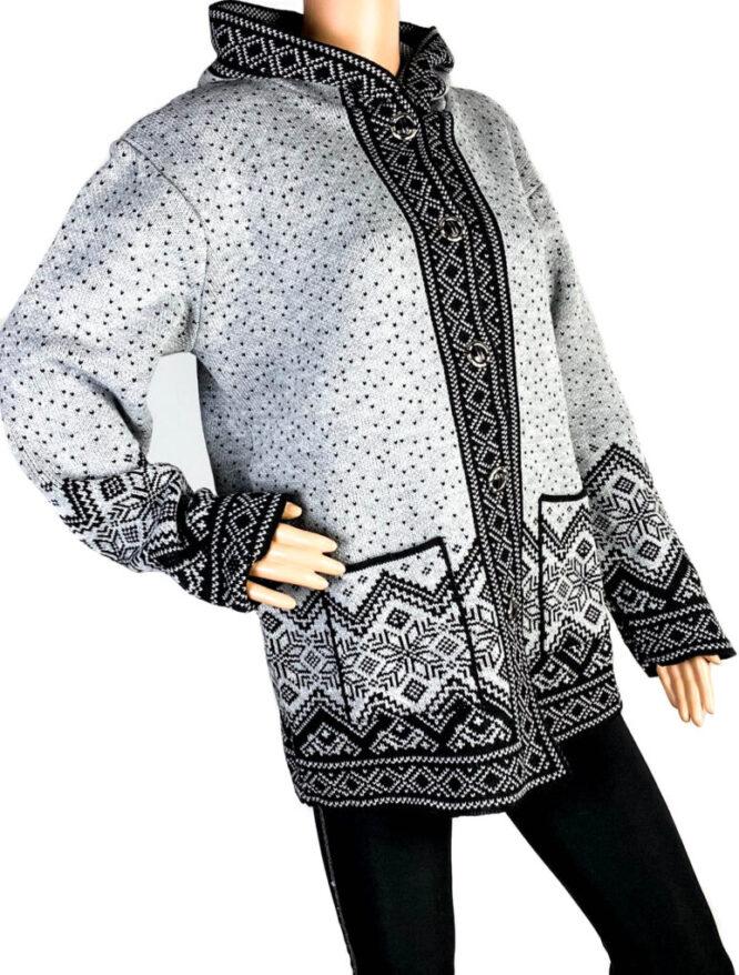 pulover damă cu nasturi gri,