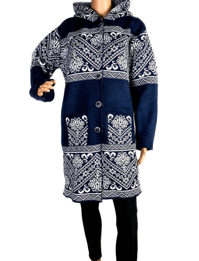 pulover damă cu nasturi bleumarin,