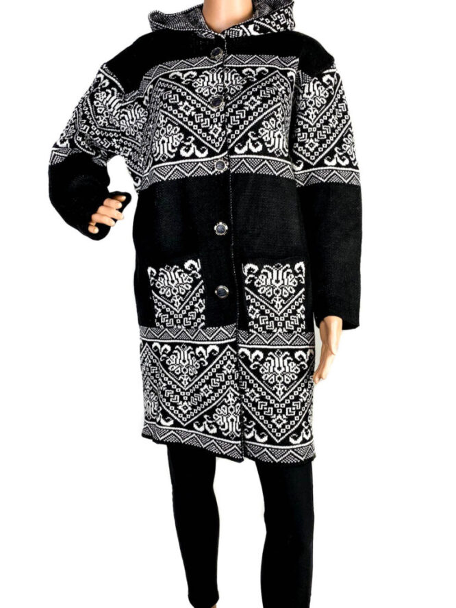 pulover damă cu nasturi negru,