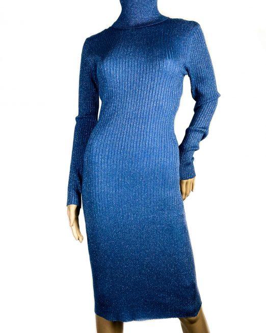 rochie albastră pe gât cu sclipici fin damă,