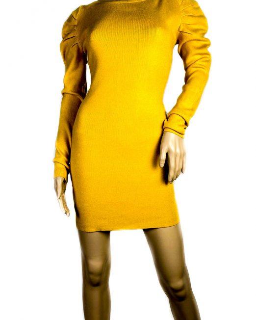 rochie galbenă tricotată cu mânecă bufantă,