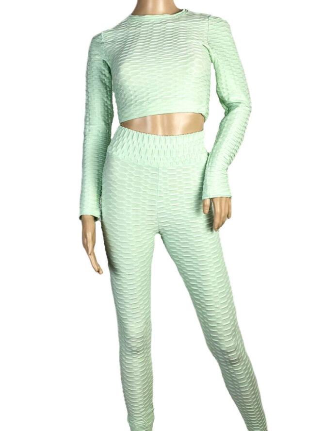costum fitness damă verde,