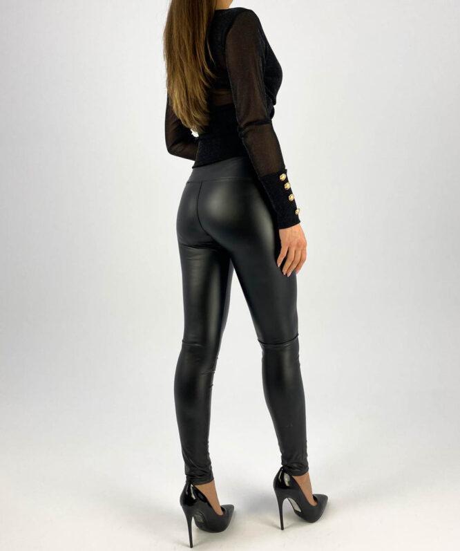 pantaloni negri piele ecologică damă,
