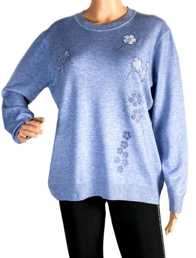 pulover damă subțire bleu,