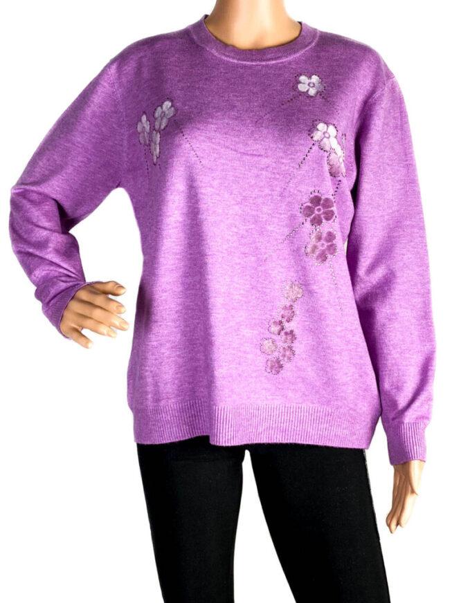 pulover damă subțire lila,