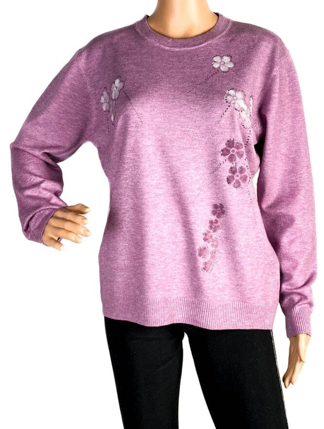 pulover damă subțire mov,