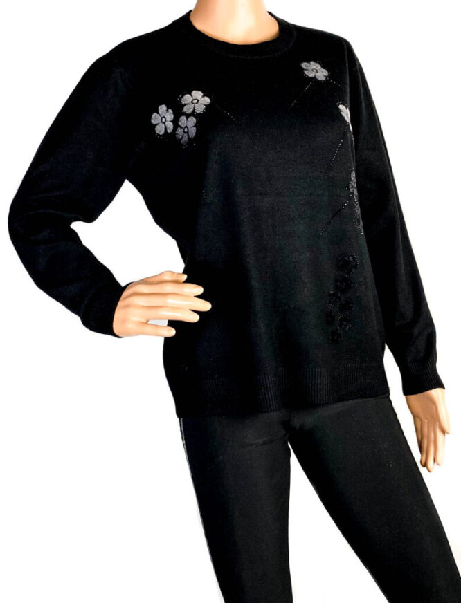 pulover damă subțire negru,