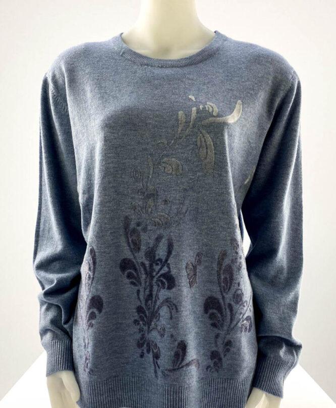 pulover damă bleu subțire cu flori,