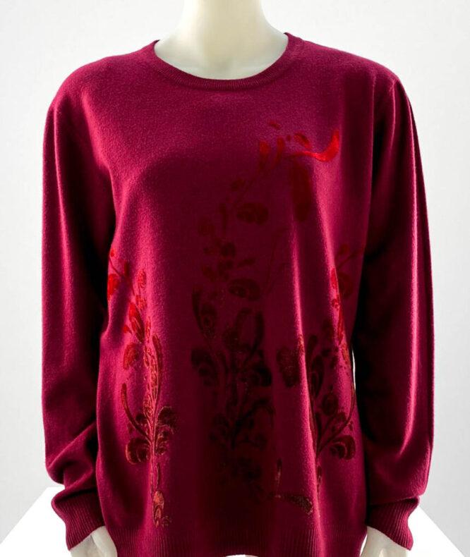 pulover damă bordo subțire cu flori,