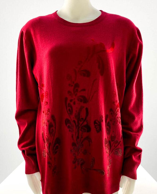 pulover damă roșu subțire cu flori,