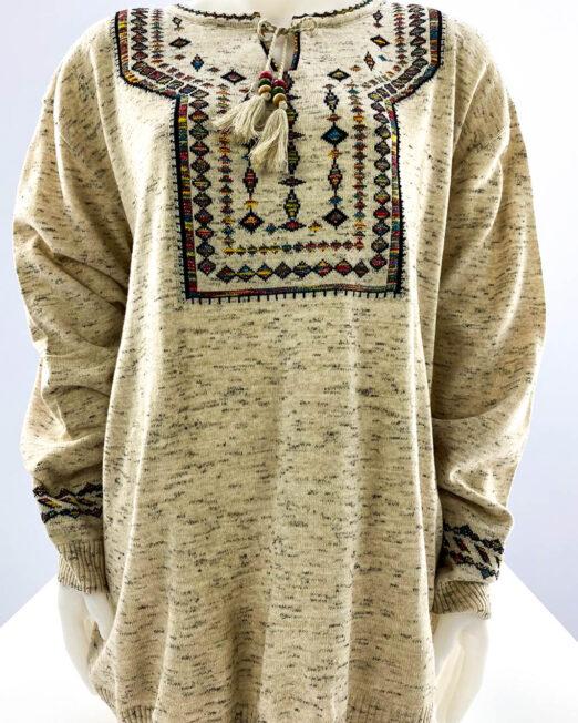 pulover beige motiv tradițional mărime mare damă,