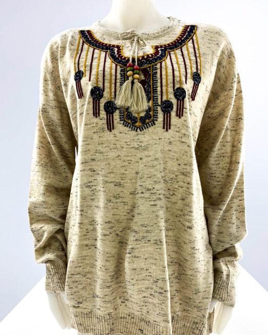 pulover beige motiv oriental mărime mare damă,