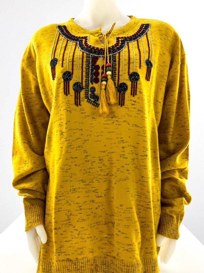 pulover galben motiv oriental mărime mare damă,