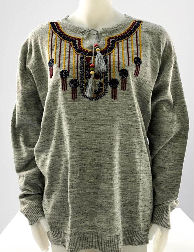 pulover gri motiv oriental mărime mare damă,