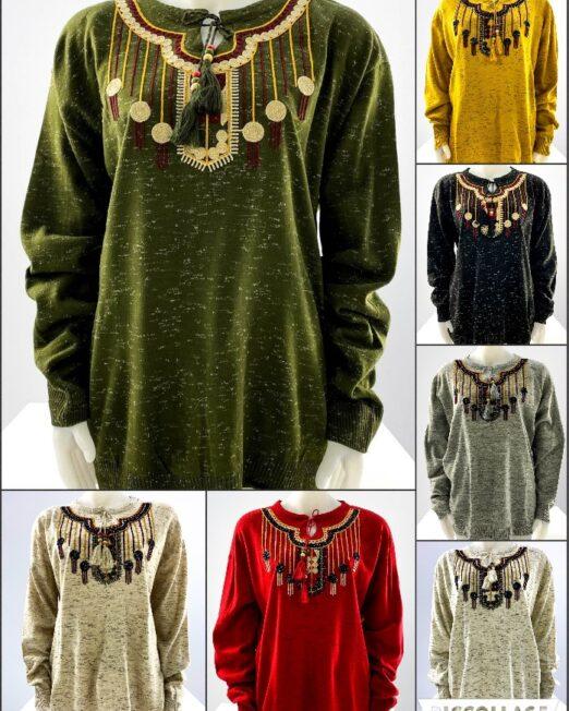 pulover motiv oriental mărime mare damă,