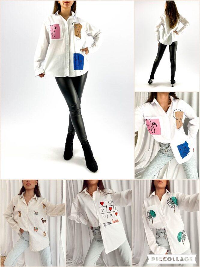cămașă damă albă cu imprimeu,
