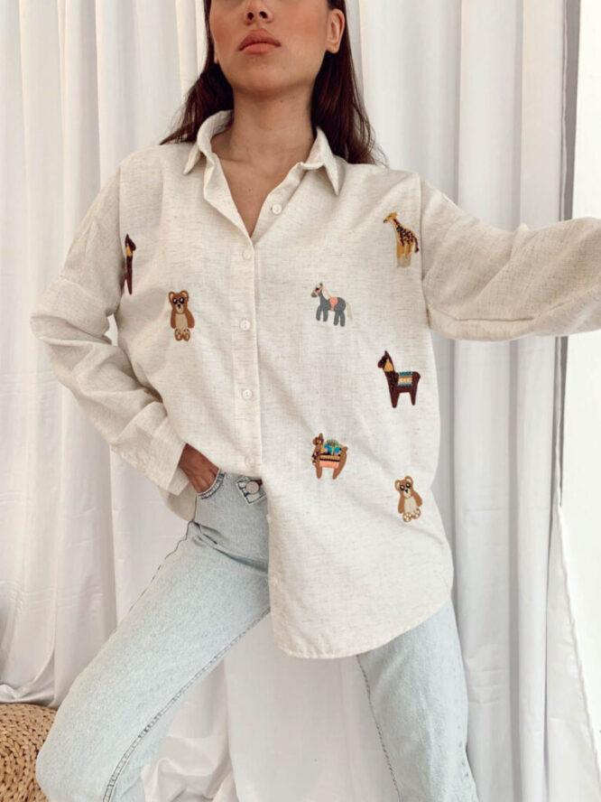 cămașă damă beige cu imprimeu,