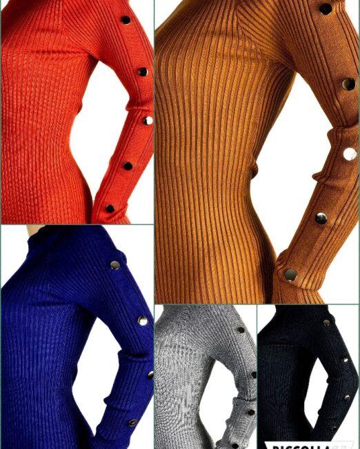 rochia tricotată mulată cu capse,