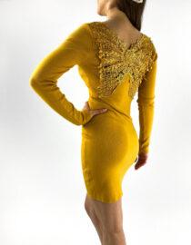 rochia galbenă tricotată mulată cu dantelă,