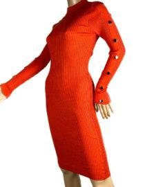 rochia tricotată mulată orange cu capse,