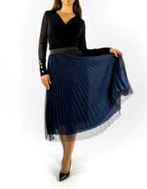 fustă plisată bleumarin cu tul și sclipici,