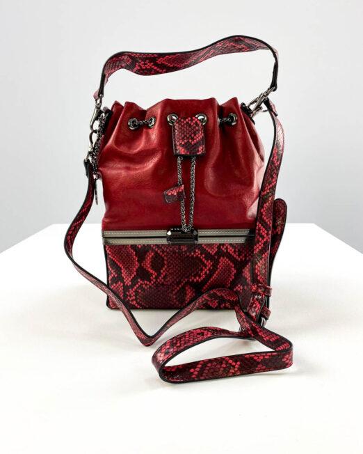 geanta roșie elegantă damă dublă,