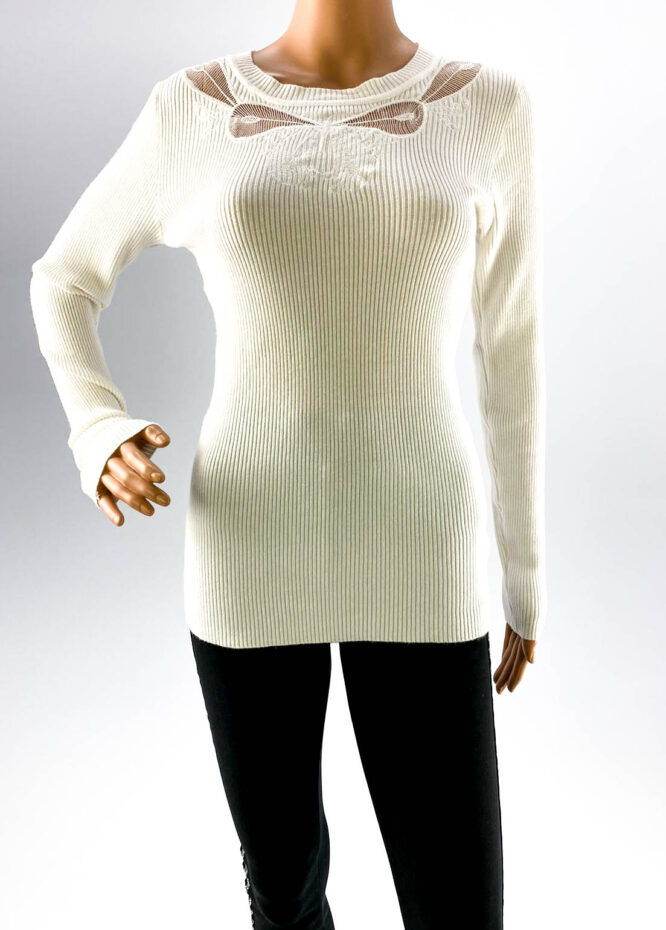 pulover alb subțire cu dantelă damă,