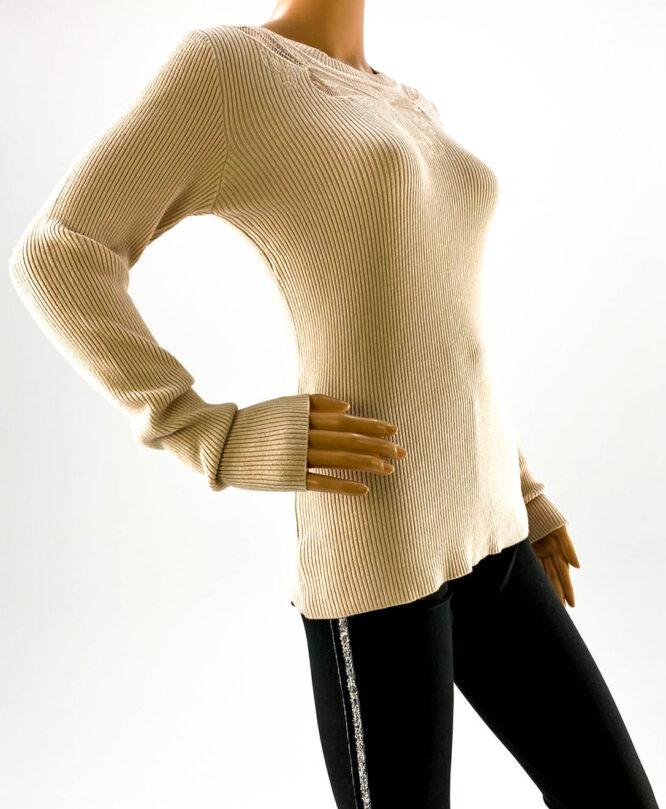 pulover beige subțire cu dantelă damă,