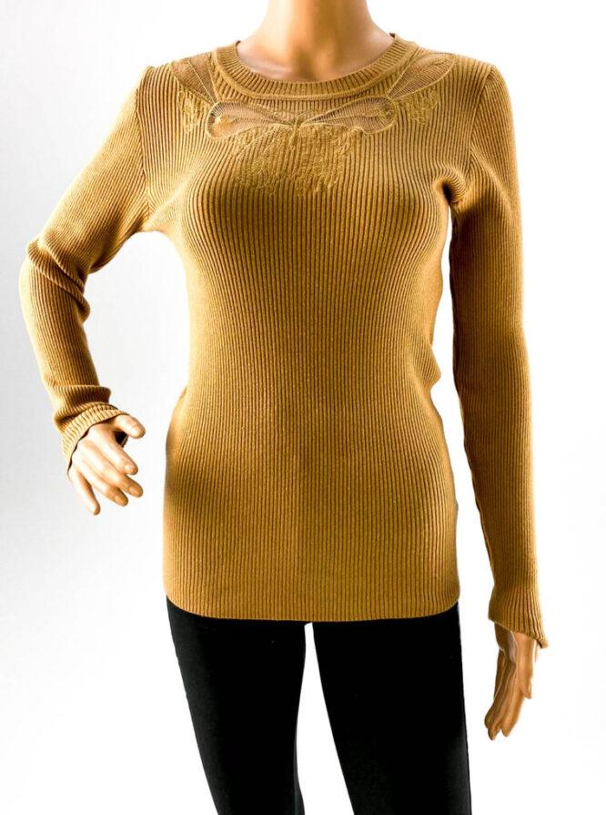 pulover galben subțire cu dantelă damă,