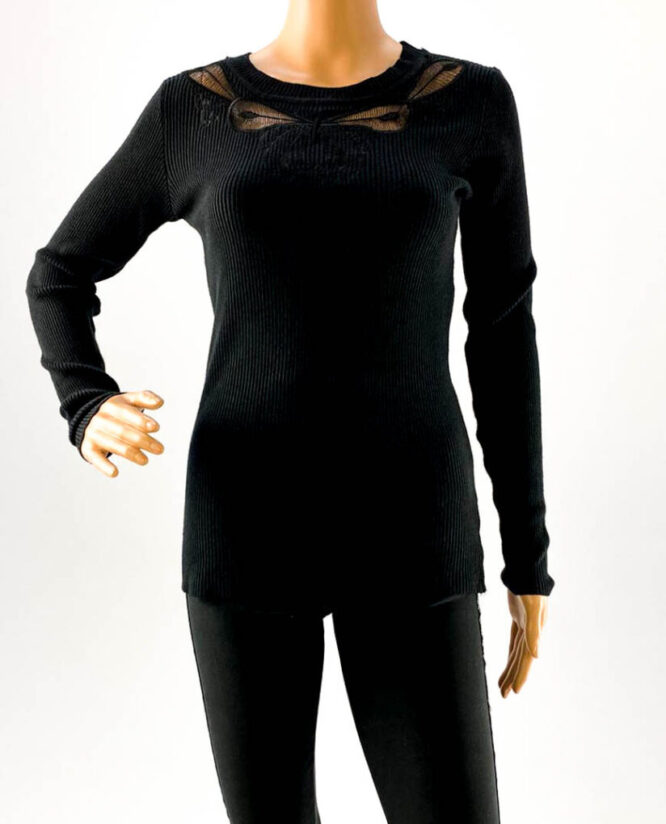 pulover negru subțire cu dantelă damă,