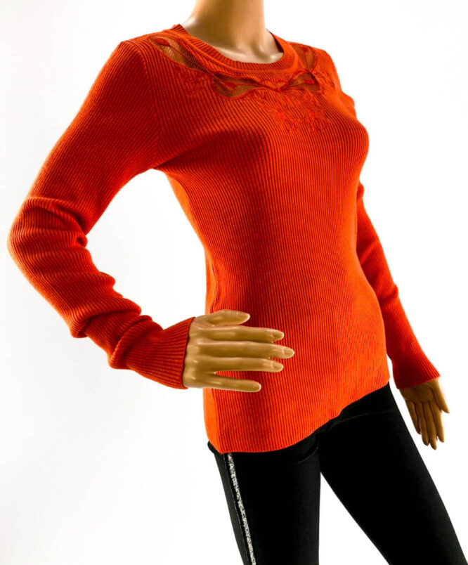 pulover orange subțire cu dantelă damă,