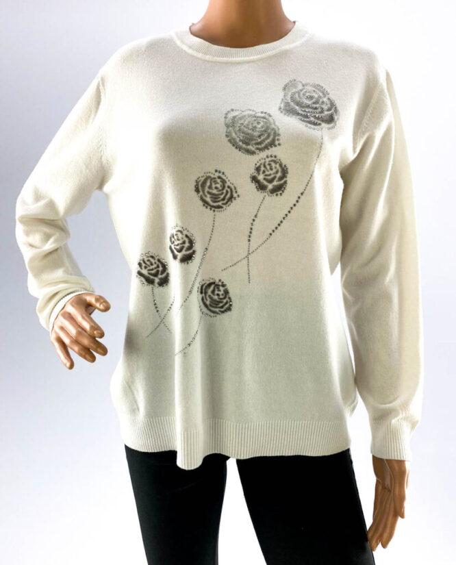 pulover alb damă subțire cu pietre,
