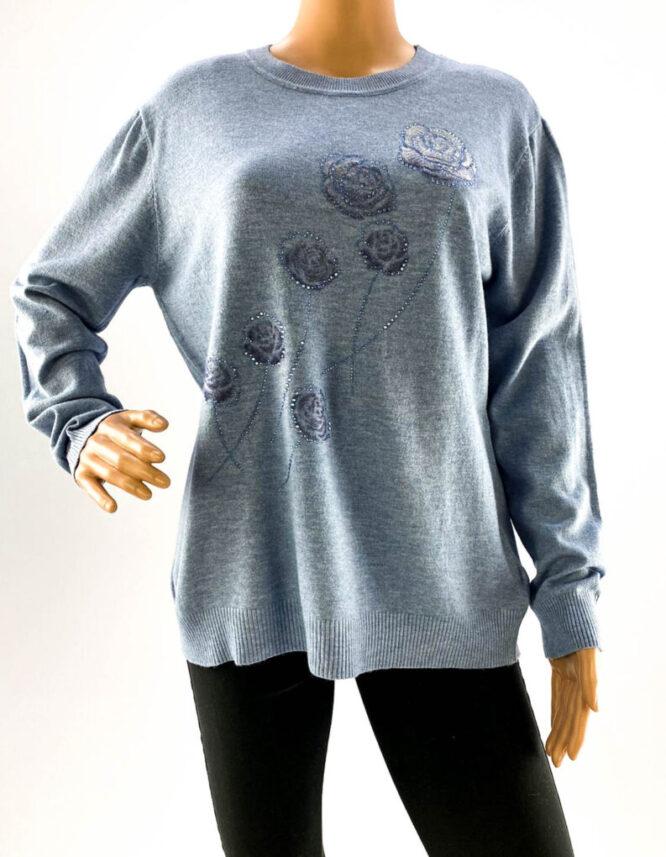 pulover bleu damă subțire cu pietre,