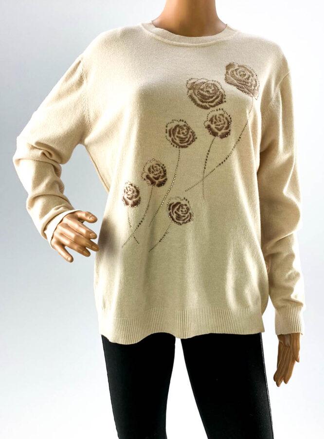 pulover roz damă subțire cu pietre,