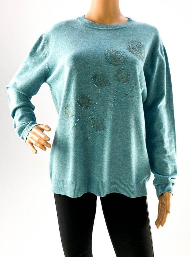 pulover turquoise damă subțire cu pietre,
