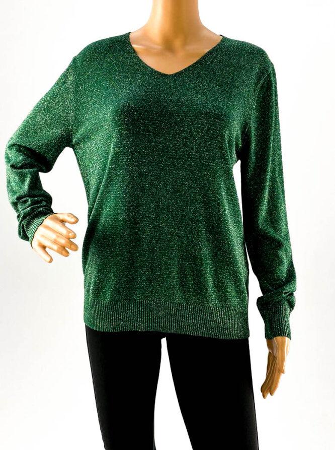 pulover damă verde cu sclipici,