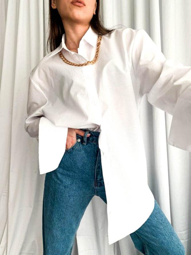 cămașă damă albă cu lănțișor,