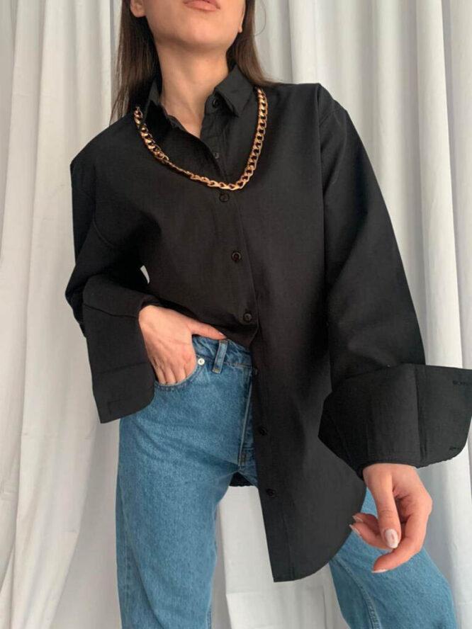 cămașă damă neagră cu lănțișor,