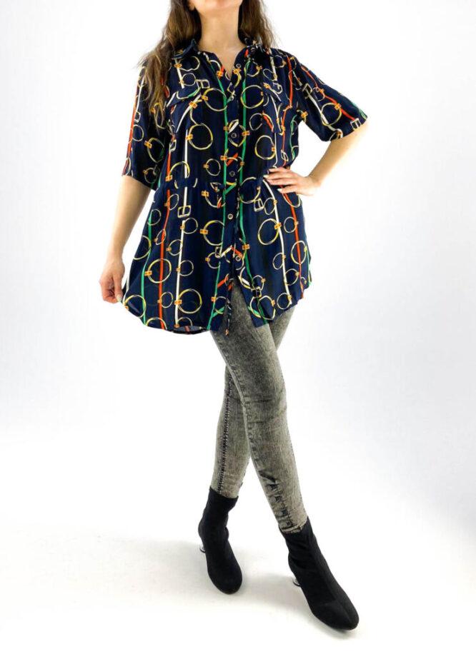 cămașă de damă bleumarin cu mânecă scurtă și imprimeu,