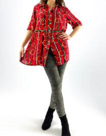 cămașă de damă roșie cu mânecă scurtă și imprimeu,