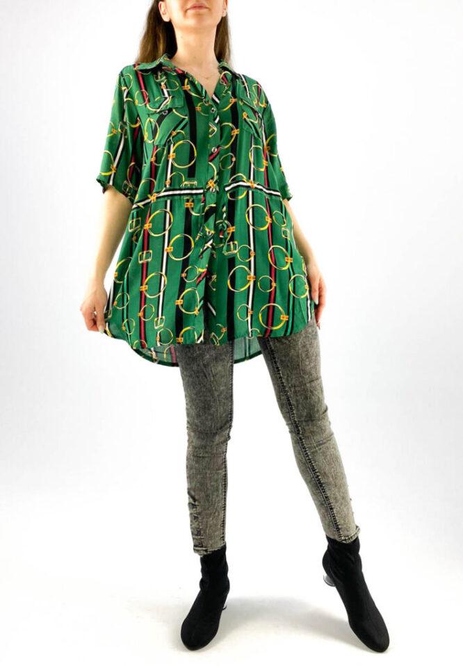 cămașă de damă verde cu mânecă scurtă și imprimeu,
