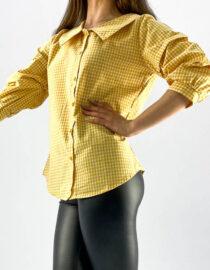 cămașa damă în carouri galben și alb,